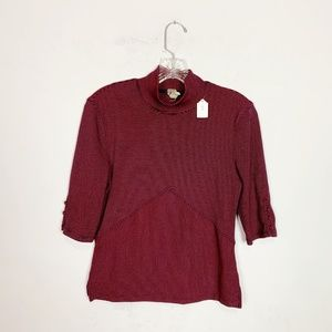 Free People red & navy striped mock neck top M